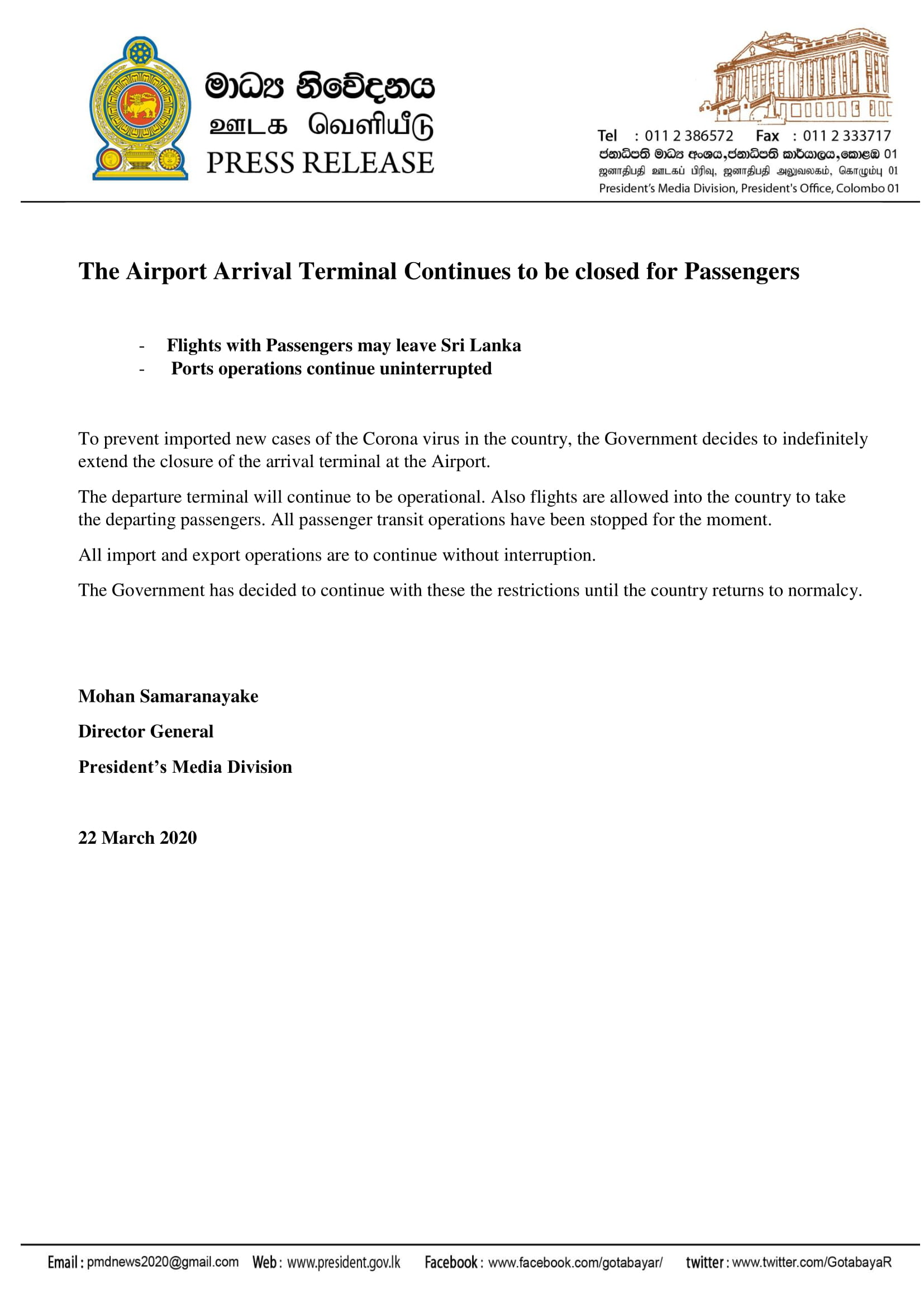 The Airport Arrival Terminal Continues to be closed for Passengers.pdf 1