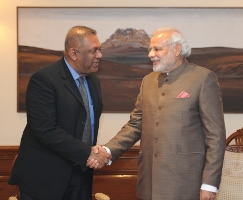 pm modi greets ministersamaraweera 19jan2015